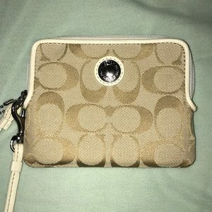 Coach Cream Colored Wristlet